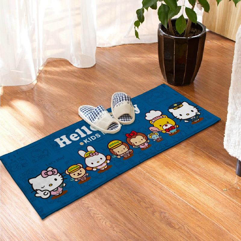 Hello kitty 藍色簡筆畫款地墊地毯毛毯踏墊臥室廚房地墊浴室門口地毯防滑腳墊腳踏墊