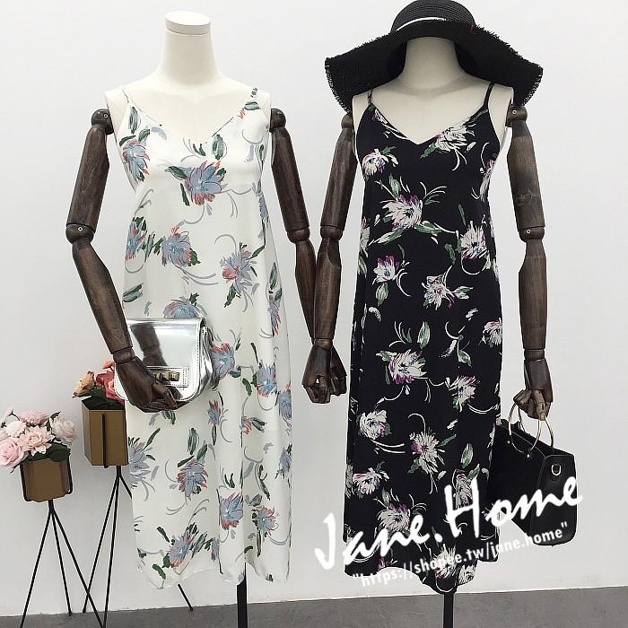 實拍甜美花朵吊帶洋裝❤清新印花V 領吊帶中長款洋裝