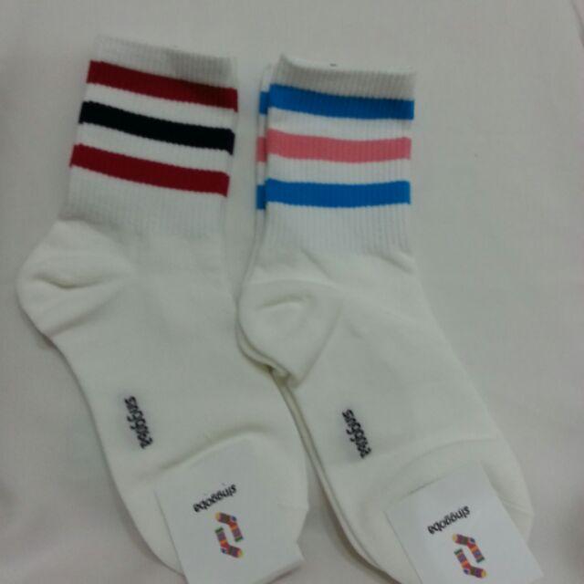 韓國潮流情侶條紋 中筒襪彩色條紋 襪