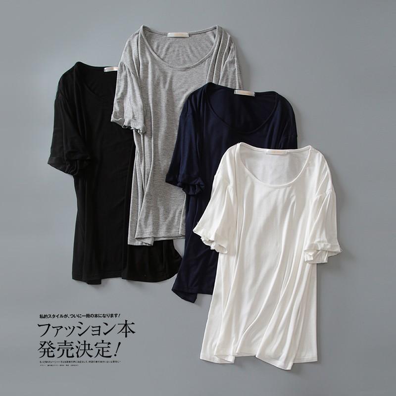 4 色簡約莫代爾純色捲邊寬鬆打底短袖T 恤