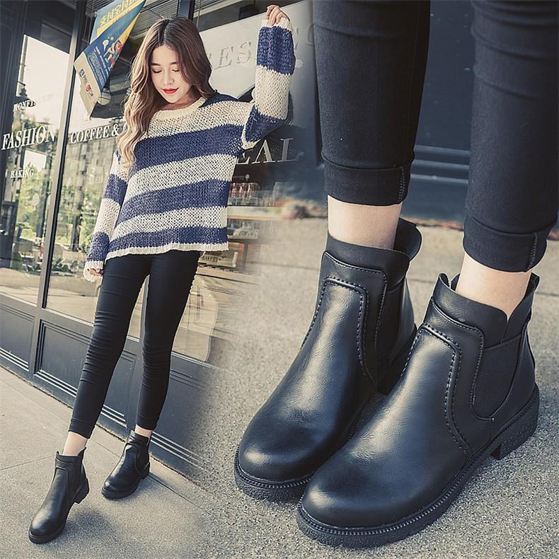 春秋 英倫風粗跟馬丁靴女中跟松緊圓頭復古學生單靴短靴女鞋潮潮女 女耐磨 中跟短靴女靴英倫鞋