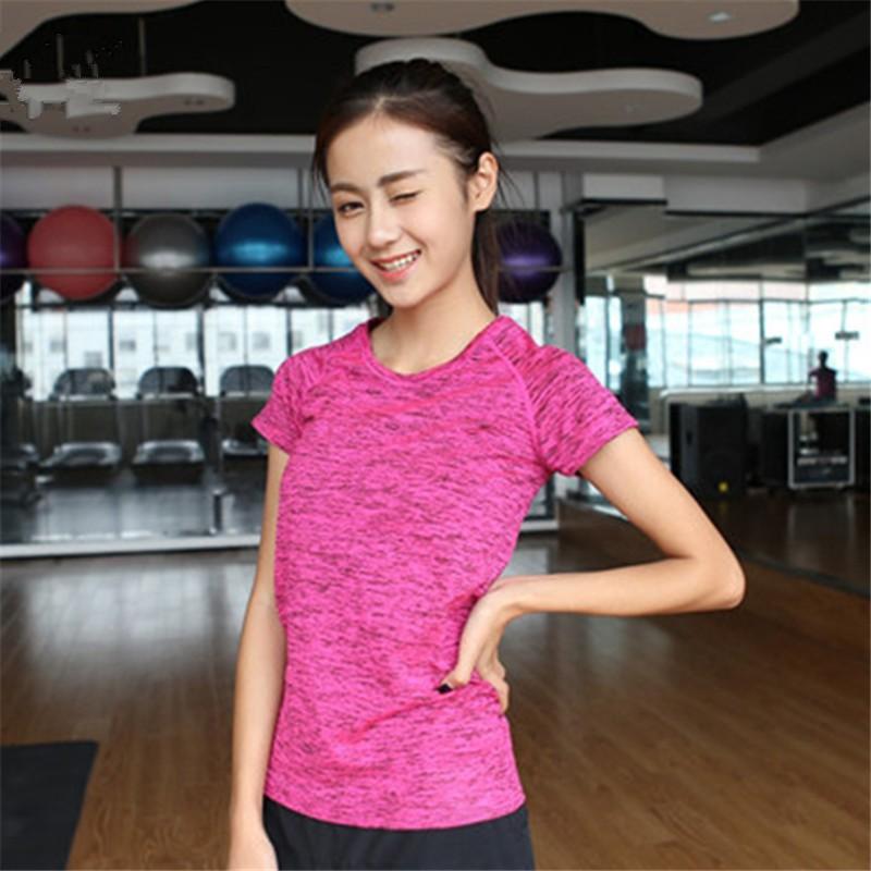噸卹女高彈寬鬆健身跳操跑步服瑜伽上衣透氣排汗速乾短袖