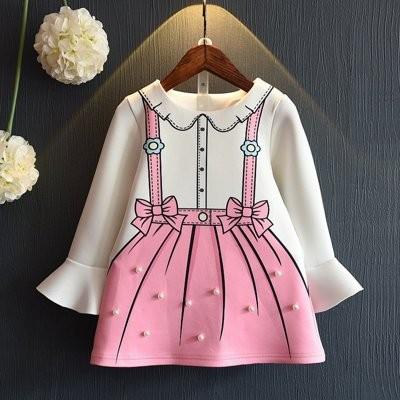 ღ瑪琪朵小舖ღ2016  日系女童雜誌甜美公主吊帶裙印花喇叭袖洋裝連衣裙 616