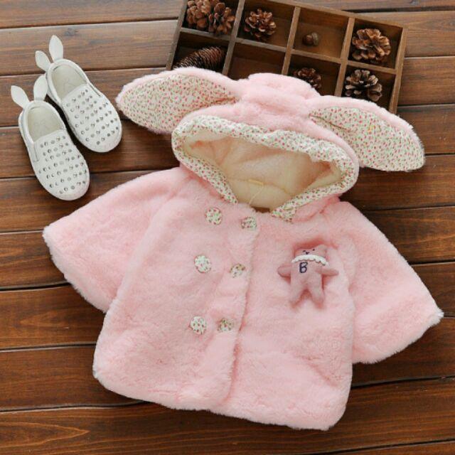 款 寶寶連帽碎花小兔披風女童毛絨披肩斗篷型外套