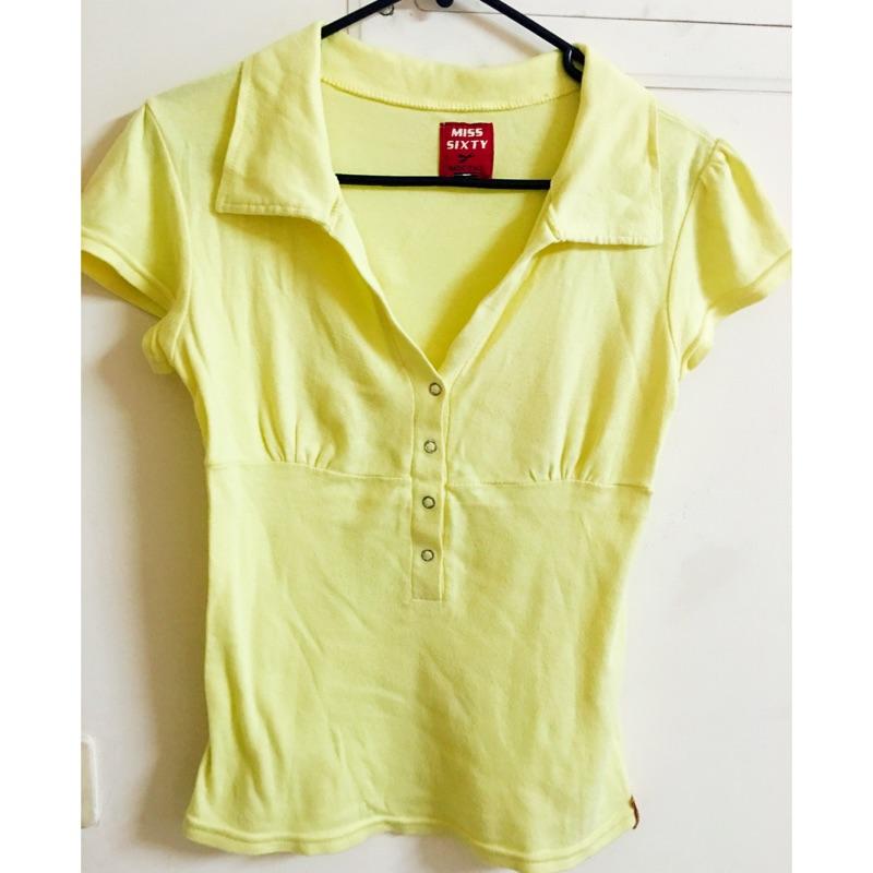 MISS SIXTY 短袖襯衫polo 襯衫黃抓皺感腰身修飾效果