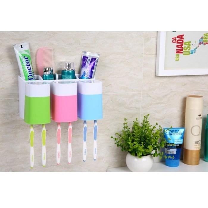 幸福之家壁掛式三杯洗漱套装牙刷收納架洗漱套装收納架漱口杯牙刷架