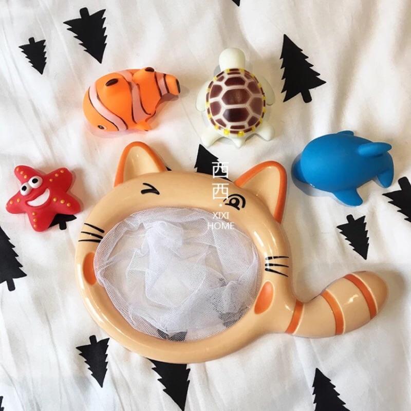 新開幕 大臉貓小貓撈魚浴室戲水玩具寶寶釣魚撈網洗澡玩具漂浮軟膠噴水洗澡玩具兒童玩具海龜小丑