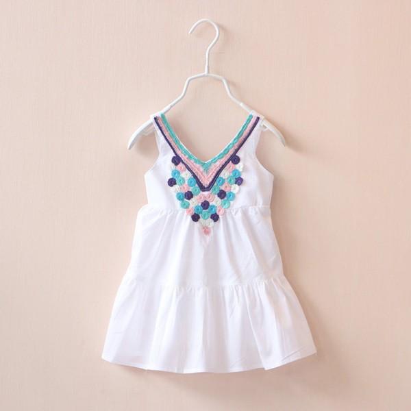 兒童吊帶連衣裙領口精美刺繡吊帶裙連衣裙