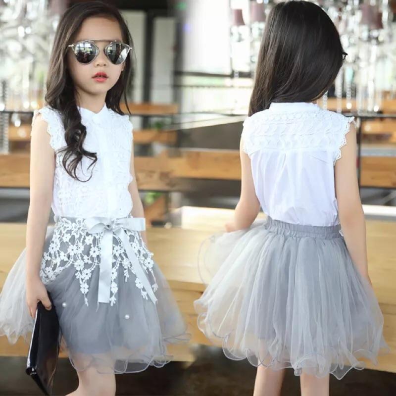 女童夏裝套裝2016 中大兒童蕾絲公主裙子3 12 歲 短袖兩件套