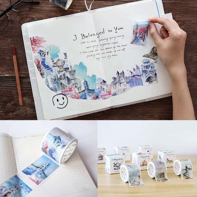 日式和紙膠帶全世界路過旅行手繪建築貼紙膠帶DIY 手賬裝飾40mm