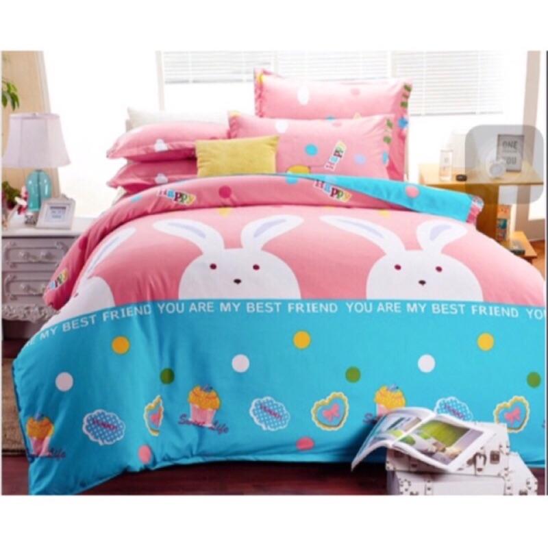 天絲絨雙人厚床包、厚枕頭套、厚被套棉柔厚床包四件式