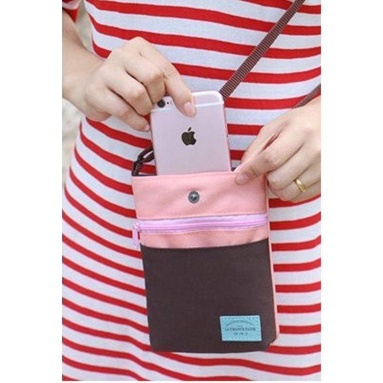 方包撞色 側肩斜背包壓扣拉鍊出國旅遊 收納包置物包護照包