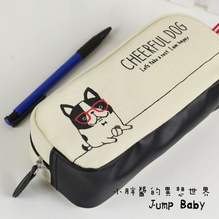 帆布拉鍊學生筆帶大容量文具包雜物包收納包可愛小狗尺寸19x8 5x6 5