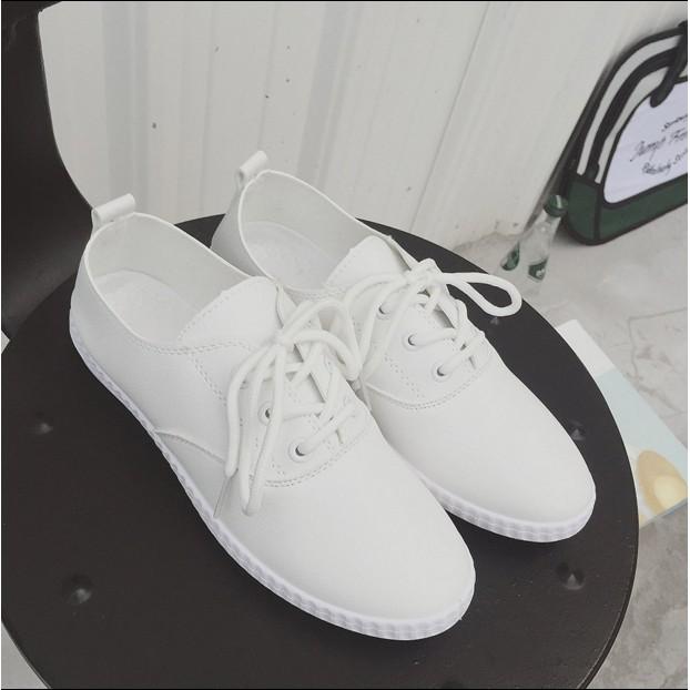 款皮小白鞋女休閒 鞋板鞋平底單鞋平跟系帶女鞋潮