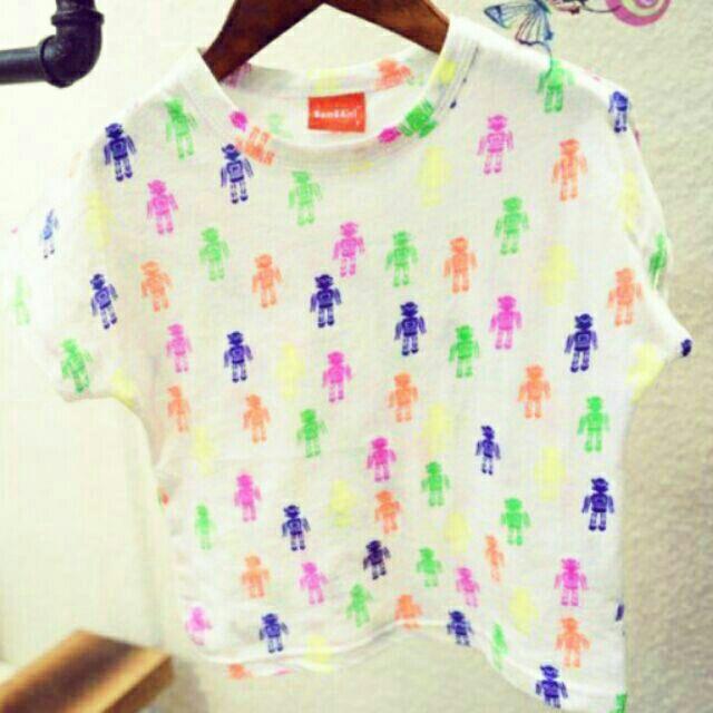 中性休閒 款男女款霓彩螢光機器人滿版 圖案白色潮T 100 純棉T 恤~A0004 ~