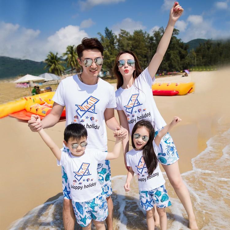 沙灘度假親子裝一家三口四口家庭裝全家裝印花圖案純棉套裝旅游裝