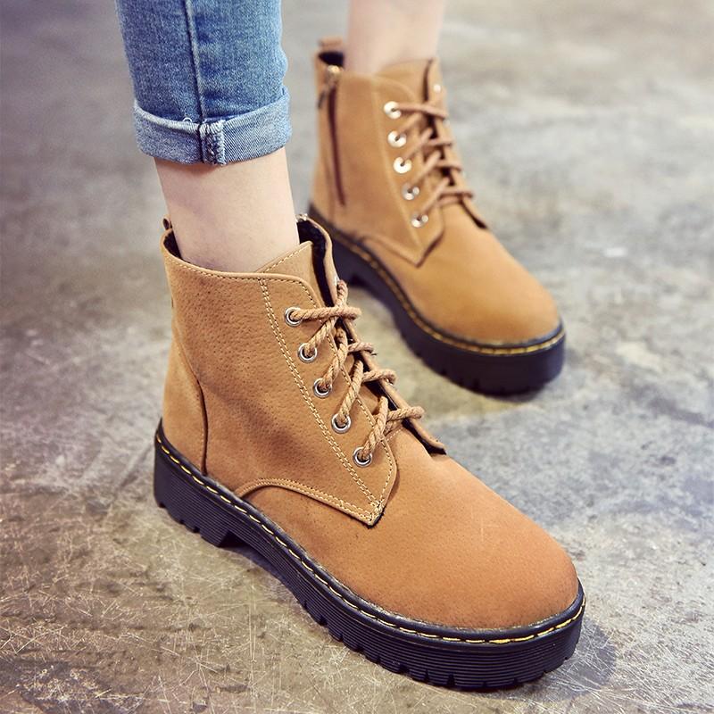 ☯☧☬☸韓國平底跟原宿馬丁靴大頭工裝鞋大黃靴女磨砂皮復古短靴