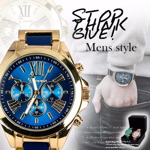 男女對錶鍊帶錶炫光金屬三眼 手鍊首爾漫遊羅馬刻度中性錶對錶贈黑盒買越多送越多~匠子工坊~~