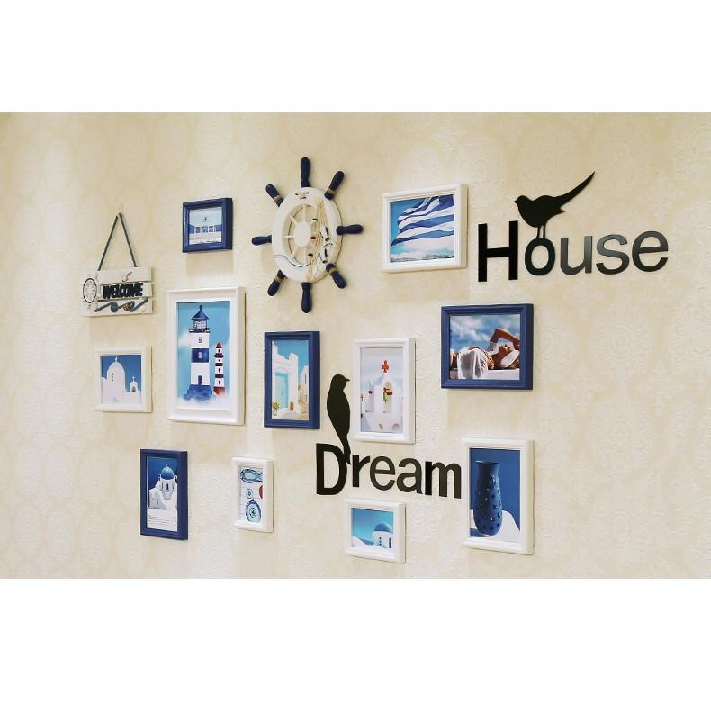 妙妙屋相框 實木照片墙貼纸客厅地中海照片墙歐式照片挂墙臥室創藝相框13 件組