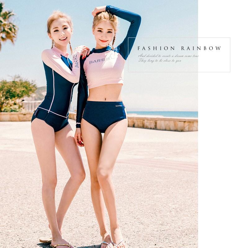 潛水服三件套 長袖泳衣拉鍊外套平角粉藍撞色防曬泳裝顯瘦泳衣潛水海灘出國渡假
