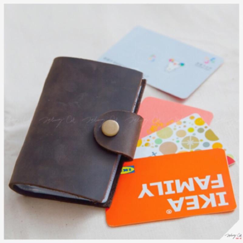 10x7cm 手作植鞣皮革24 卡位收納包 棕色~L1501A ~約翰貓卡片包會員卡悠遊卡