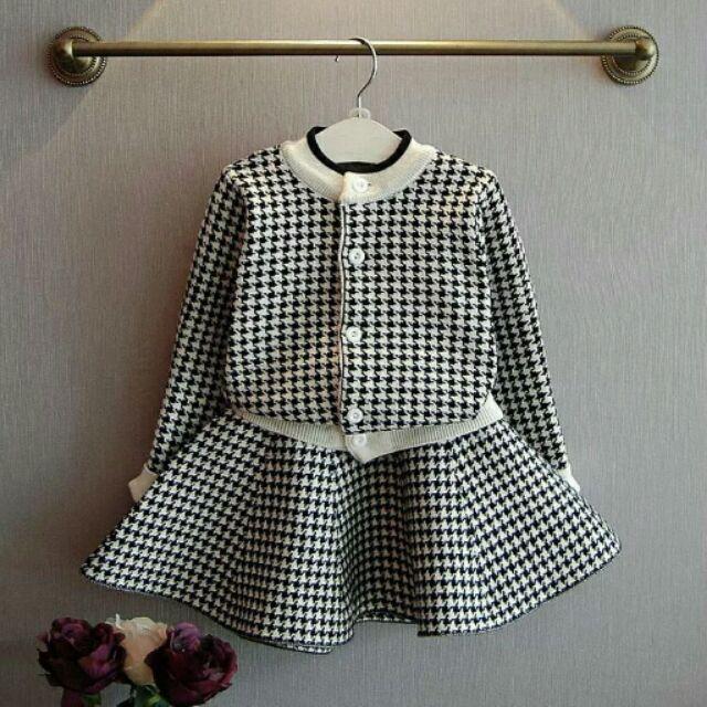 秋款 格子針織兒童千鳥格開衫裙子两件套装D4426