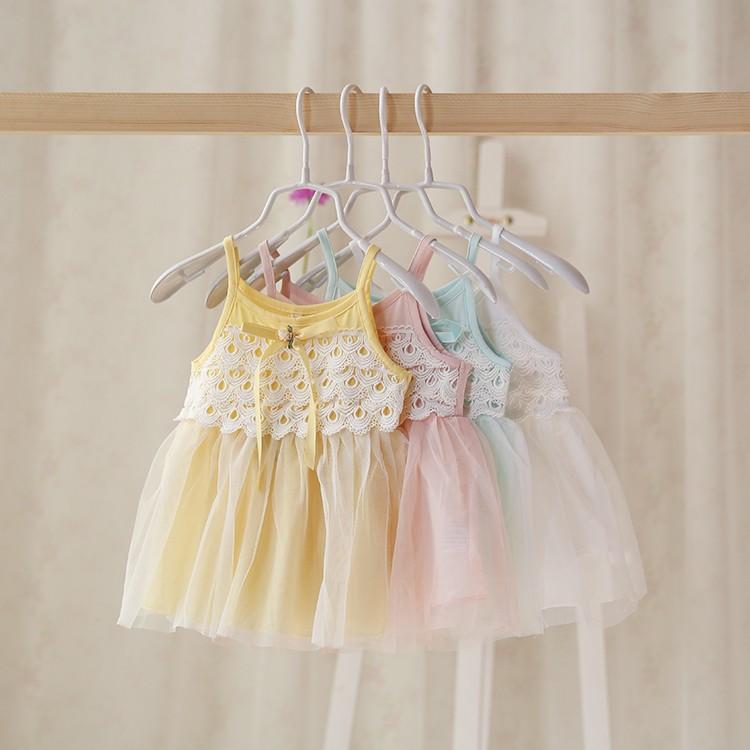 2016  女童吊帶裙子 女寶寶純棉無袖連衣裙嬰兒蕾絲紗裙