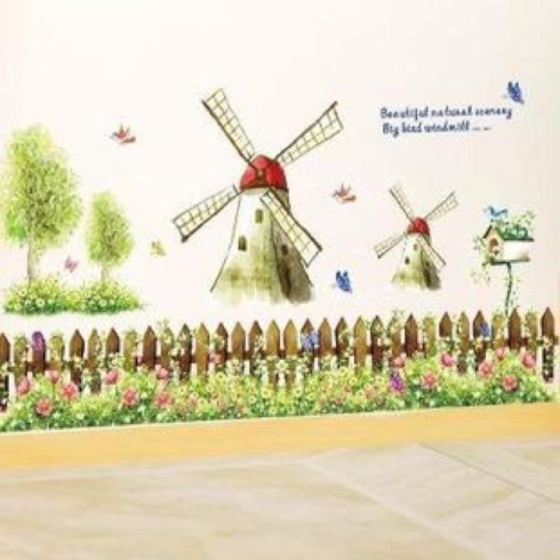 田園風車花草樹木 壁貼牆貼裝置藝術室內佈置房間客廳佈置重複撕貼PVC