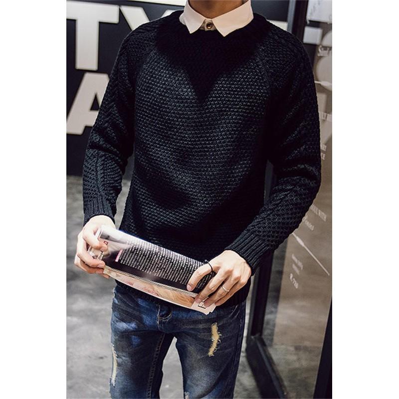 春秋日系青年男士毛衣 圓領修身型學生針織衫男線衣 套頭潮