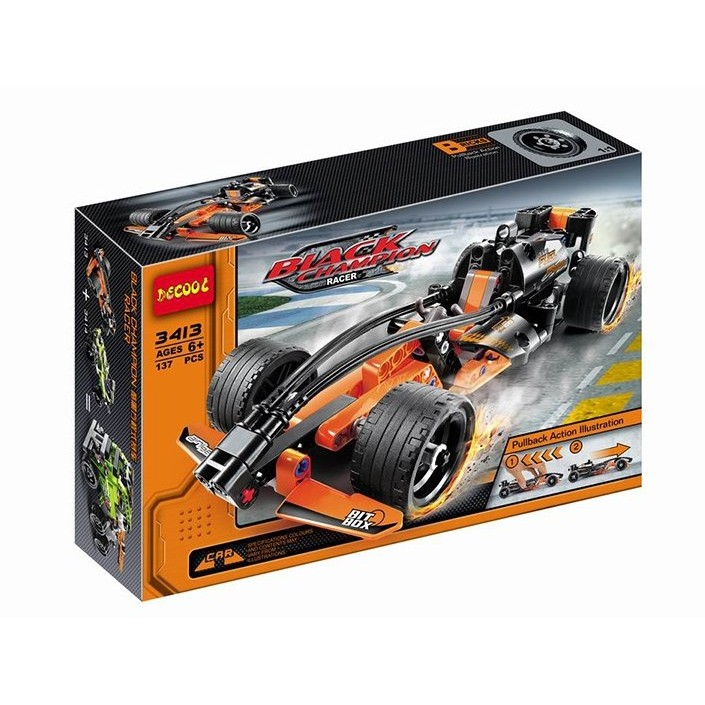 ~小喬兒~~ ~~得高牌3413 ~科技系列酷黑方程式賽車具回力 樂高積木玩具