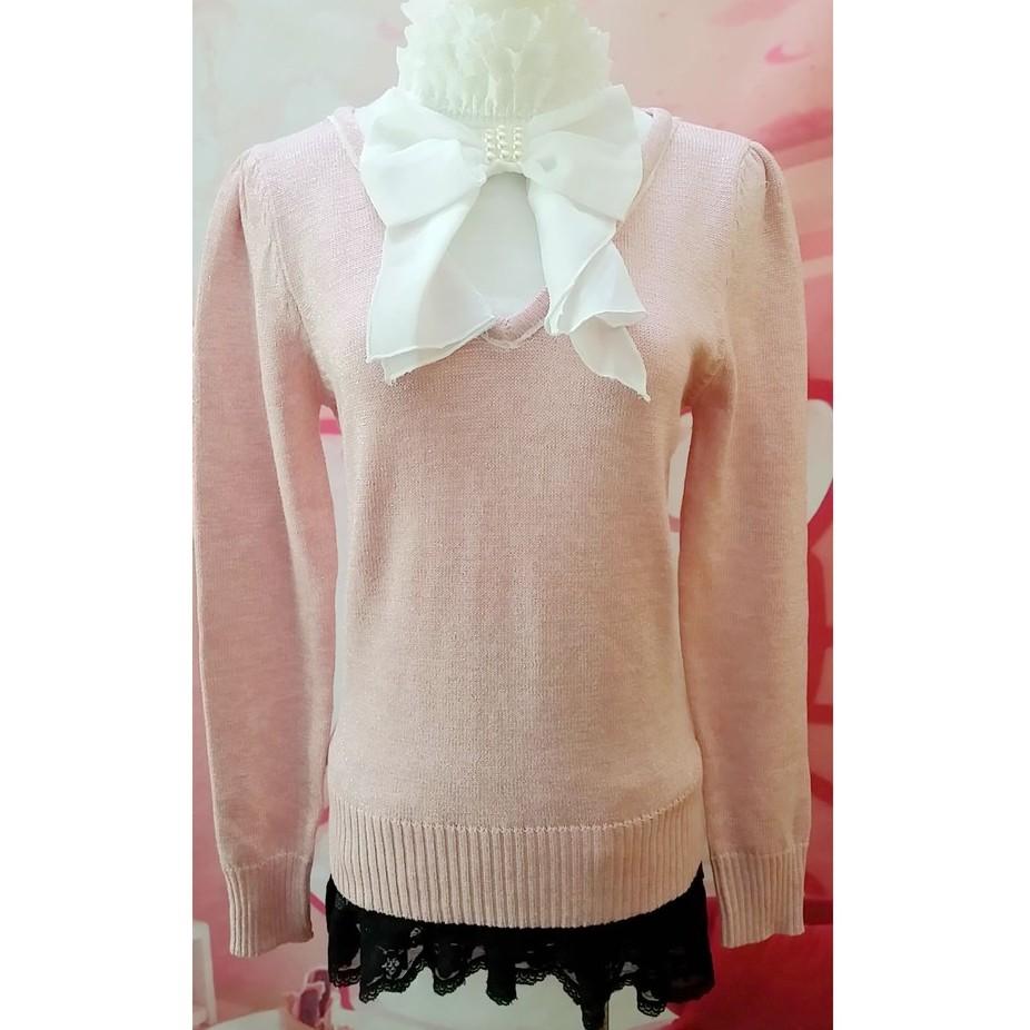 假二件式銀蔥粉紅色長袖蕾絲領口雪紡珍珠蝴蝶結裝飾亮粉甜美夢幻可愛公主風百搭針織衫毛衣襯衫上