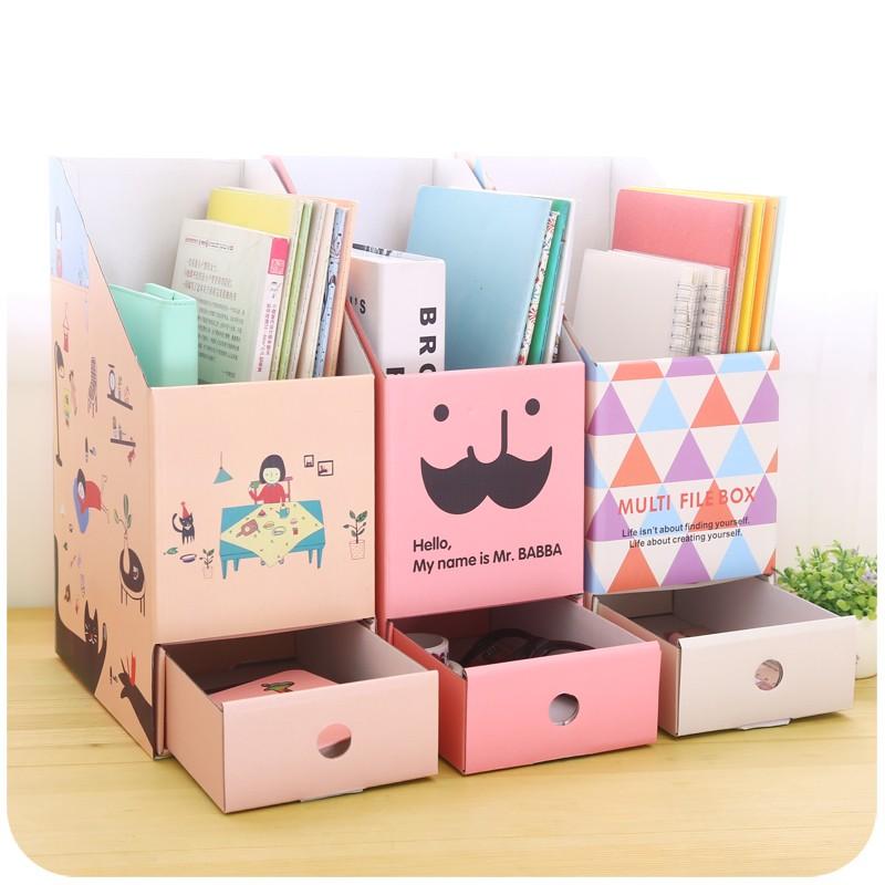 默默愛~抽屜式桌面收納盒書桌紙質辦公室文具宿舍書立書本盒
