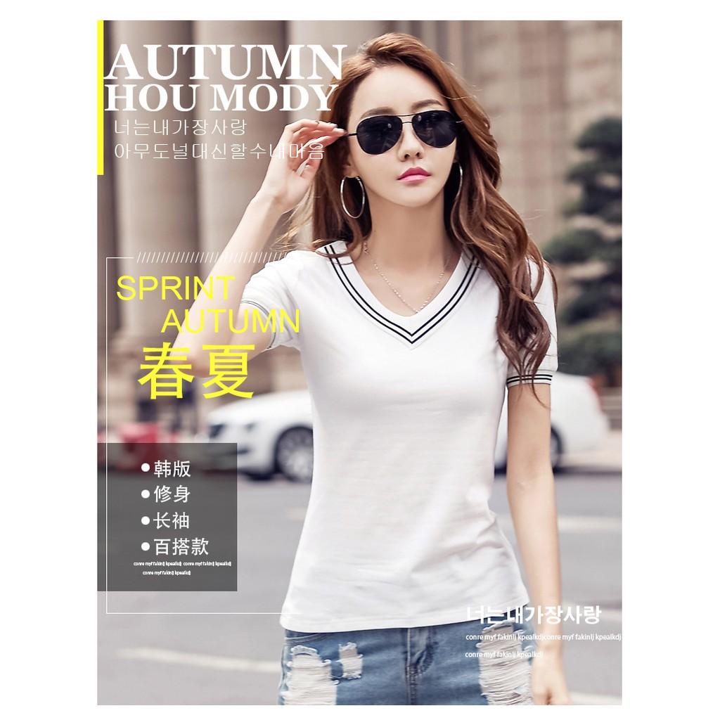 實拍~FF 推出~V 領白色短袖t 恤女裝純棉簡約打底衫修身體恤大碼 百搭上衣