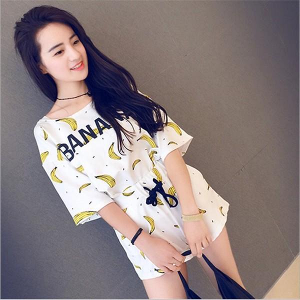 可愛香蕉印花短袖T 恤短褲二件式套裝居家服休閒服
