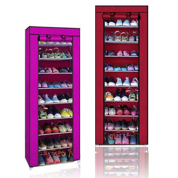 六色無法超取可貨到 ~單排鞋架9 層DIY 防塵鞋櫃含頂層~ 鞋架衣櫥置物架收納箱