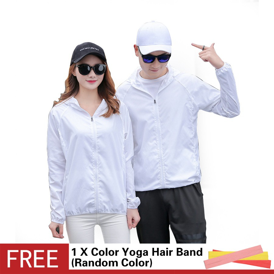 超輕可折疊皮膚衣男女純色透氣速乾防風長袖衝鋒衣戶外連帽防曬衣白色