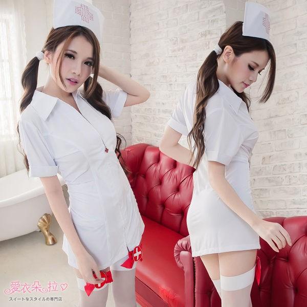 護士服角色扮演cosplay 白色洋裝護士裝白衣天使俏護士sexy 情人節驚喜 前拉鍊連身