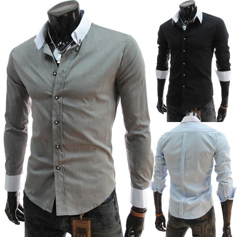 外貿 男士 撞色領修身長袖襯衫英倫男式免燙襯衣5022
