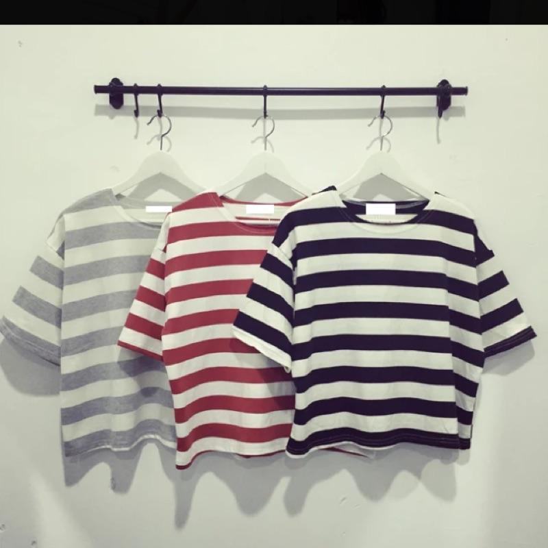 2016  寬鬆顯瘦條紋簡約短袖t 恤學院風外穿上衣打底衫