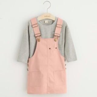 ~秋款 ~可愛貓咪圖案休閒條紋棉質吊帶裙兩件式套裝