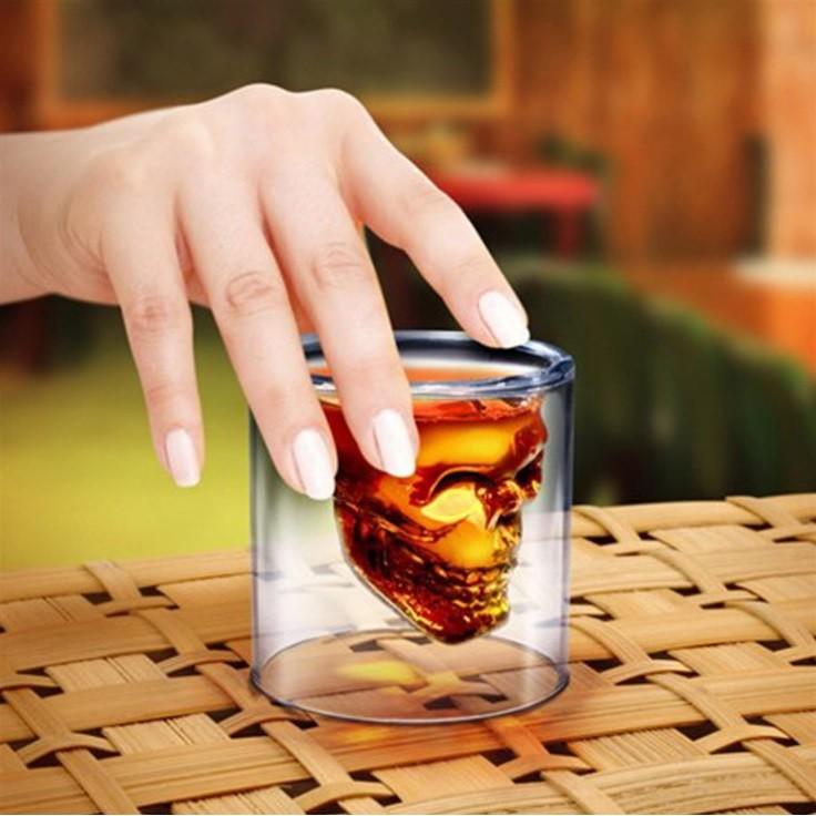~肥仔小窩~ 美國被禁錮海盜雙層玻璃杯骷髏杯啤酒杯烈酒杯威士忌杯A013