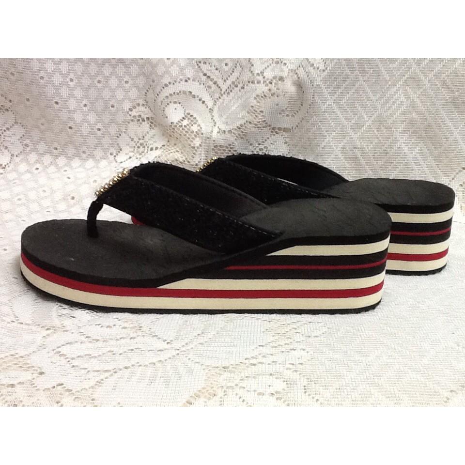 H92 ~黑色紅白條紋水鑽亮片性感涼鞋夾腳拖人字拖海灘鞋~ 36 ~楔型厚底高跟鞋涼鞋休閒