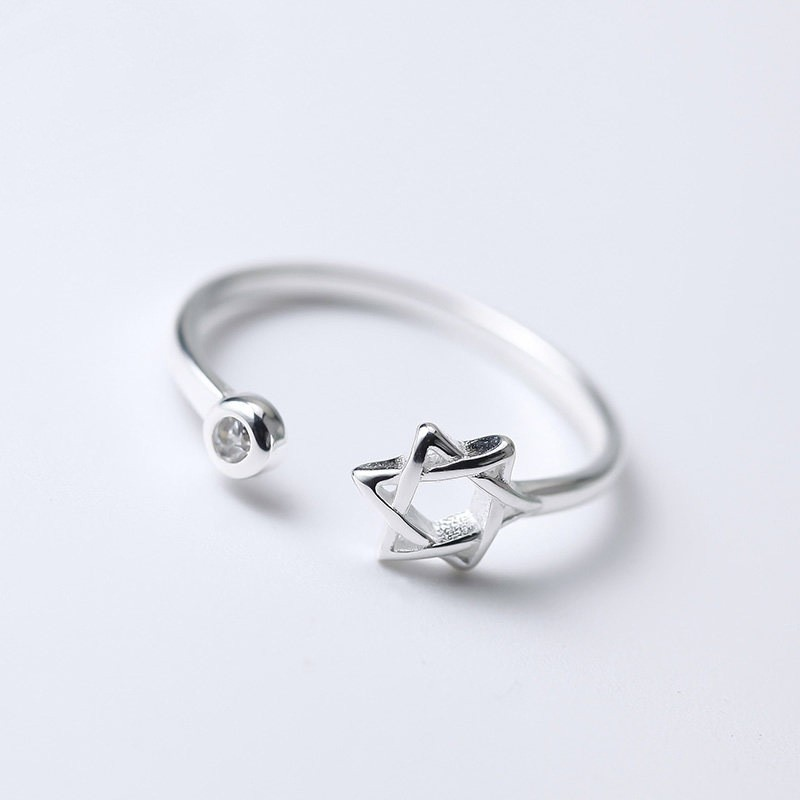 ○Han 飾○鑲鑽六芒星戒指日韓國簡約飾品氣質可愛甜美 日韓簡約 防過敏