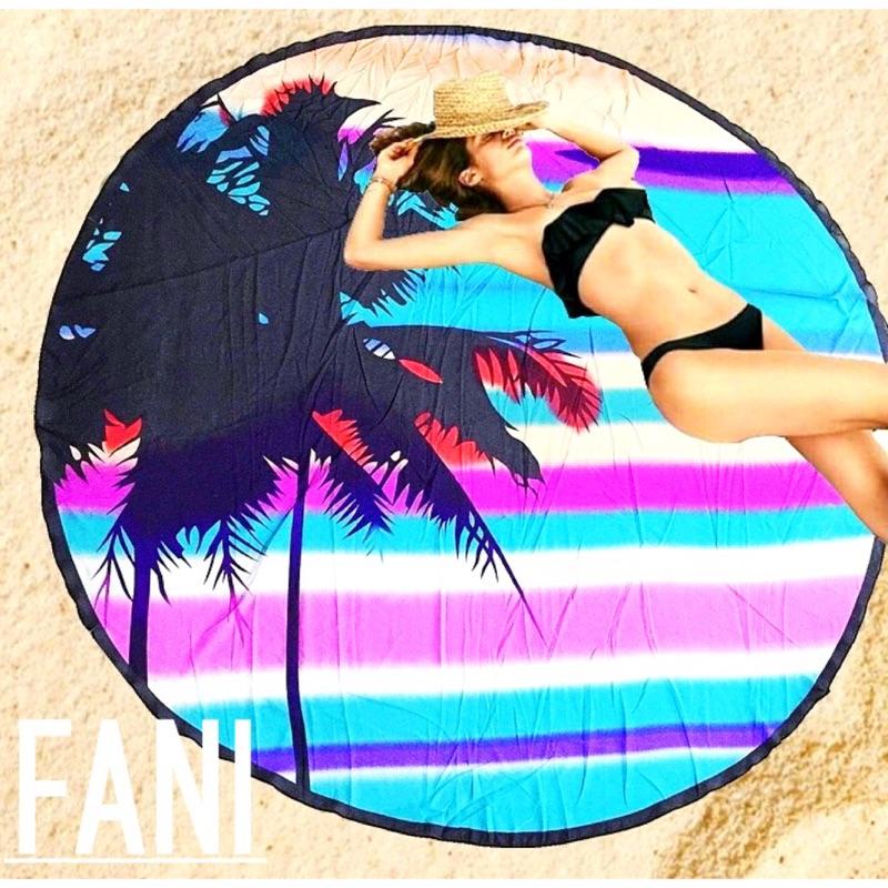 ~方妮FaNi ~ 火紅~椰樹彩條沙灘墊沙灘巾瑜珈墊露營海灘巾~度假野餐寵物墊可搭泳圈游泳