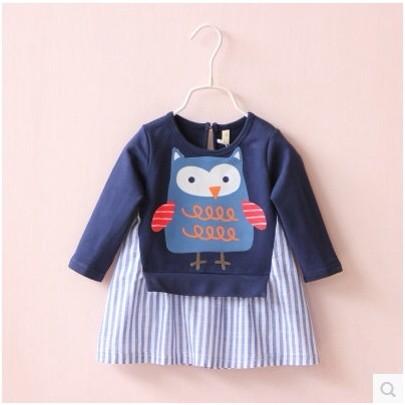 女童貓頭鷹圓領裙衫2016 年  兒童長袖打底衫