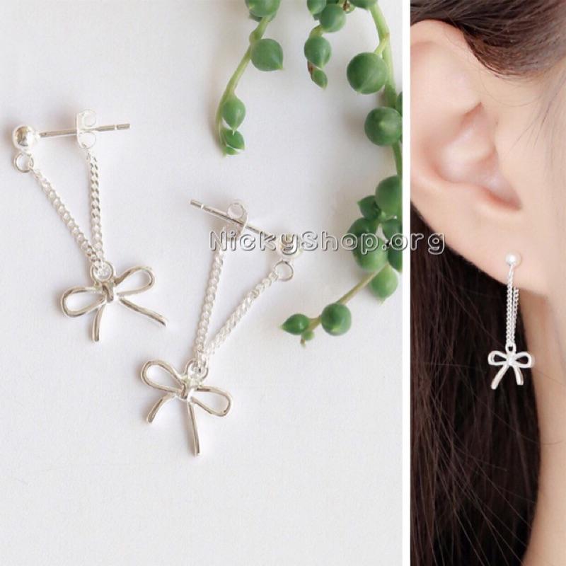 鍍S925 純銀蝴蝶結氣質甜美浪漫女流蘇垂墜耳環耳針耳釘耳飾飾品
