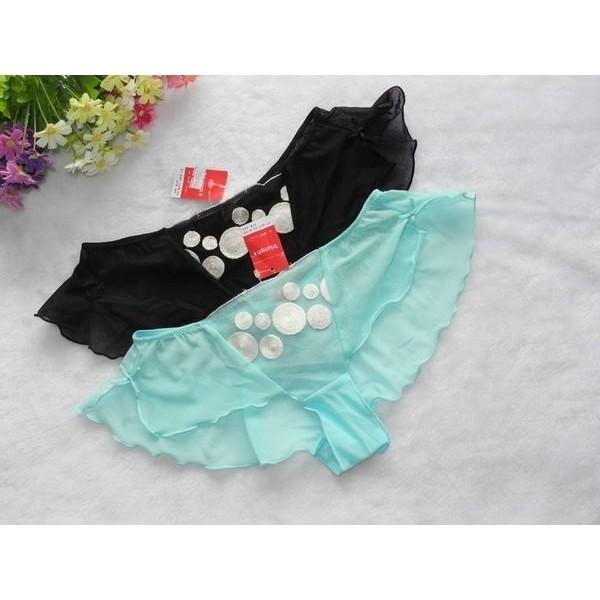 黛安芬,性感透視全件網紗飄飄平口褲(P01 ),藍色/黑色,L 號