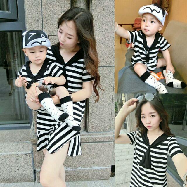 一家三口親子裝母子母女裝黑白橫條紋連衣裙嬰兒哈衣寶寶爬服