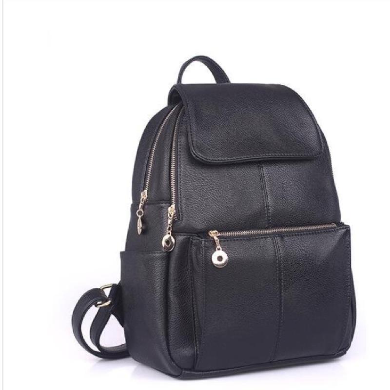 真皮 休閒簡單雙層拉鍊後背包肩背包皮女包女士背包英倫學院兩用書包