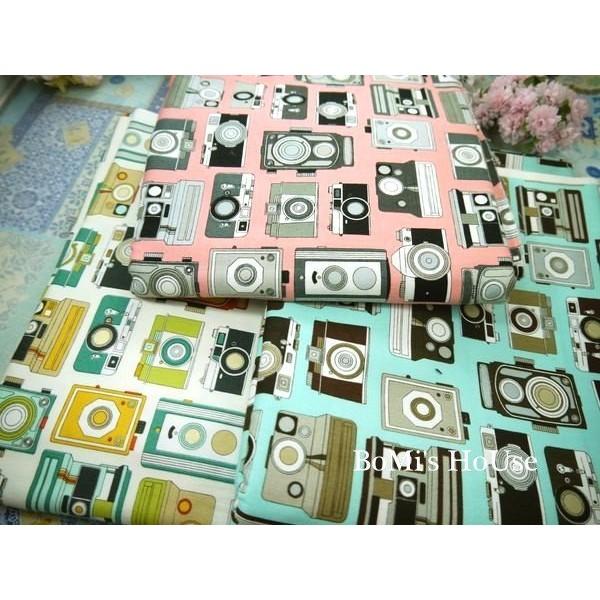 純棉布料~COSMO 復古照相機圖案布款~稍厚棉布~